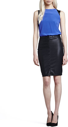 Blank Vegan Leather Pencil Skirt