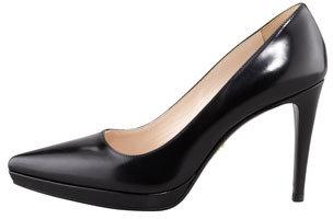 Prada Point-Toe Platform Leather Pump, Black
