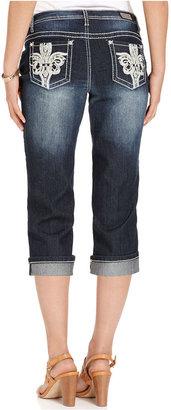 Earl Jeans Petite Jeans, Straight-Leg Cropped Cuffed, Dark Wash