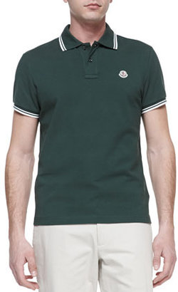 Moncler Tipped Pique Polo, Dark Green