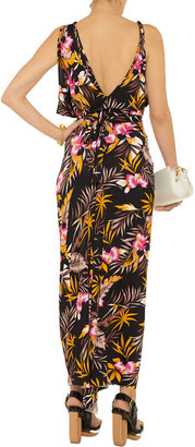 T-Bags Floral-print stretch-satin jersey maxi dress