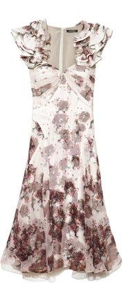 Zac Posen Preorder Chiffon Print Ruffle Sleeve Dress