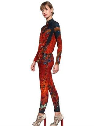 Just Cavalli Dragon Mandala Print Crepe Jumpsuit