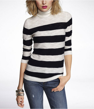 Express Striped Button Shoulder Turtleneck Sweater
