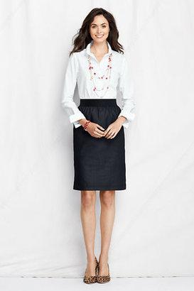 Lands' End Women's Regular Elastic Waist Faux Denim Pencil Skirt