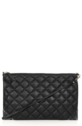 Topshop Metal Corner Quilted Leather Clutch