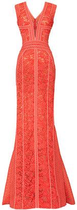 J. Mendel Paneled V-Neck Sleeveless Gown
