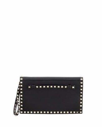 Valentino Rockstud Flap Wristlet Clutch Bag, Black $1,695 thestylecure.com