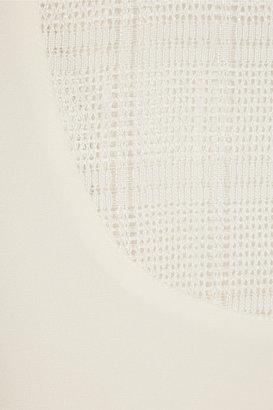 Tibi Mesh-paneled crepe top