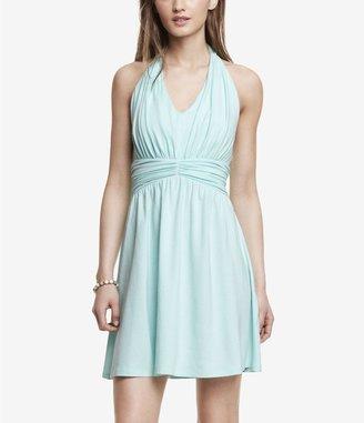 Express Light Blue Ruched Jersey Halter Dress