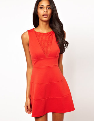 Lipsy Fit and Flare Dress with Mesh Insert
