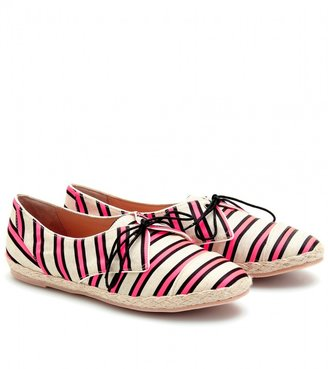 Tabitha Simmons DOLLY CRICKET STRIPED SILK AND LINEN LACE-UPS