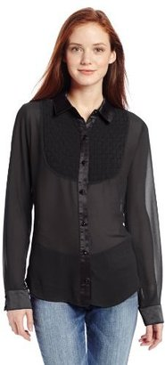 XOXO Juniors Basket Weave Bib Button Up Shirt