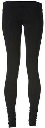 LnA Olivia Ripped Gathered Bottom Leggings in Black Licorice