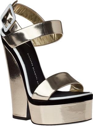 Giuseppe Zanotti Metallic Platform Sandal Gold Leather