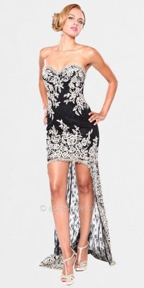 Atria Hi-Lo Flower Print Evening Dresses
