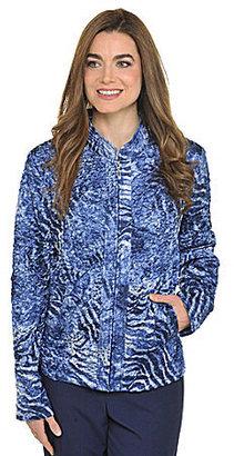 TanJay Floral Animal-Print Puckered Charmeuse Jacket
