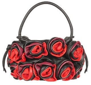 Fontanelli Black & Red Handmade Rose Bouquet Italian Leather Handbag