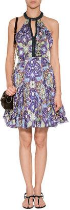 Matthew Williamson Printed Silk Halter Dress in Blue