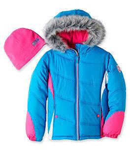 Hawke & Co Hawke Co Girls' 7-16 Blue/Pink Jewel Bubble Jacket with Beanie