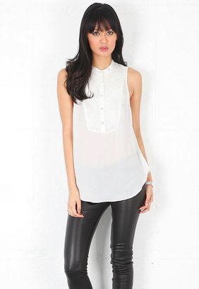 Haute Hippie Sleeveless Tux Blouse with Torn Chiffon in Swan
