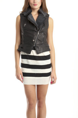 Charlotte Ronson Cropped Moto Vest in Black