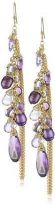 "Susan Hanover Designs ""Vivid Color"" Purple Pearl and Crystal Cluster Earrings"