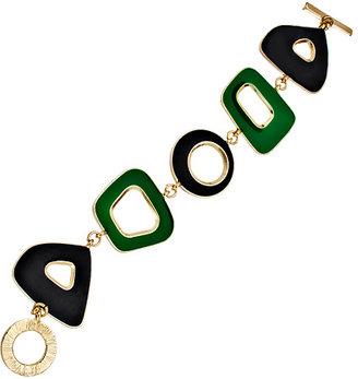 Blu Bijoux Gold Green and Navy Enamel Bracelet