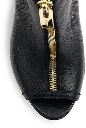 Burberry Brooksmead Leather Peep-Toe Booties