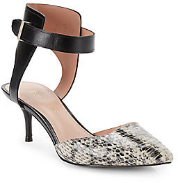 Enzo Angiolini Embossed-Leather d'Orsay Ankle-Cuff Pumps