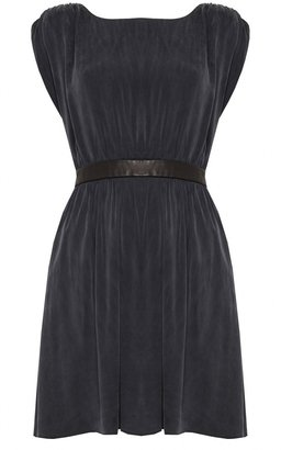 Alice + Olivia Sayah Leather Waist Snap Back Dress