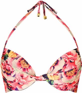 Peonie floral plunge bikini top