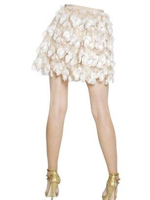 Blumarine Fringed Flower Tulle Skirt
