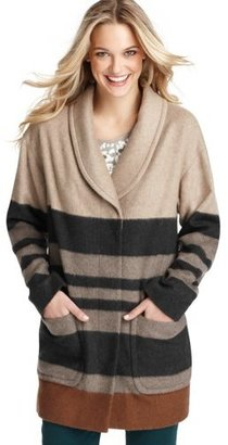 LOFT Petite Blanket Stripe Wool Blend Zip Coat