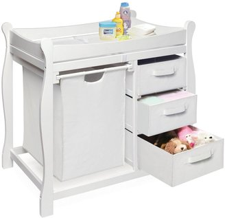 Badger Basket Sleigh Changing Table with 3 Baskets - White