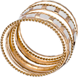 Blu Bijoux Set of Eight Gold and White Bangle Bracelets