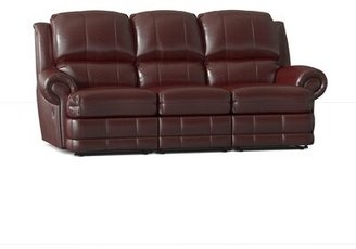 "Omnia Leather Morgan Reclining 86"" Round Arm Sofa Body Fabric: Guanaco Sangria, Nailhead Detail: Small Antique Touching, Reclining Type: Manual"