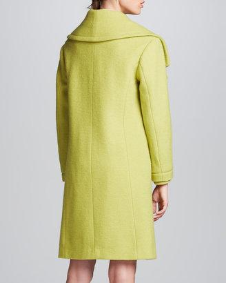 Halston Wool Oversize-Collar Coat