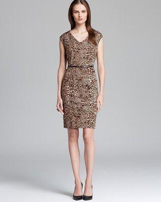 Jones New York Collection Leopard Print Belted Sheath Dress