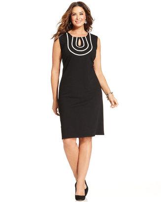 Spense Plus Size Sleeveless Sheath Dress