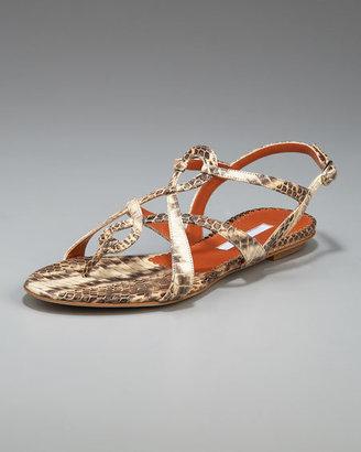 Oscar de la Renta Snakeskin Thong Sandal