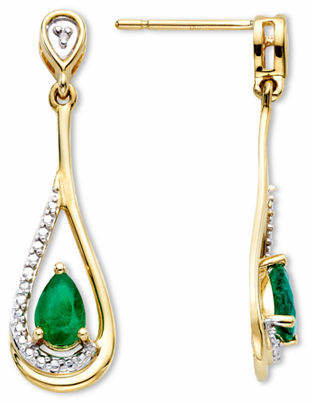 Fine Jewelry Emerald & Diamond-Accent 10K Gold Earrings Family
