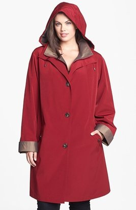 Gallery A-Line Coat with Detachable Hood & Liner (Plus Size)