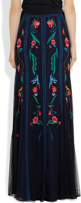 Temperley London Eliah embroidered tulle maxi skirt