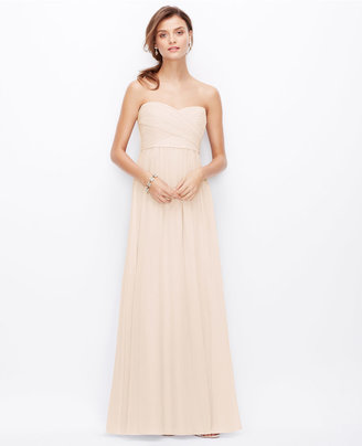 Ann Taylor Silk Georgette Shirred Strapless Gown