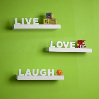 Danya B White Laminate 'Live, Love, Laugh' Inspirational Wall Shelves