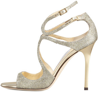 Jimmy Choo Lang Glittered Strappy Sandal, Pewter