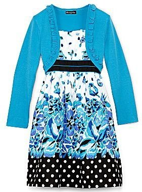 JCPenney Disorderly Kids® Floral Poplin Dress With Shrug – Girls 7-16