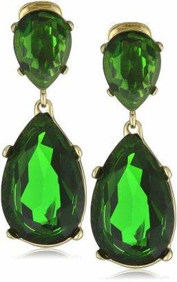 Kenneth Jay Lane Emerald -Color Teardrop Earrings
