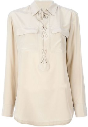 Equipment 'Laced-Up Silk Shirt'